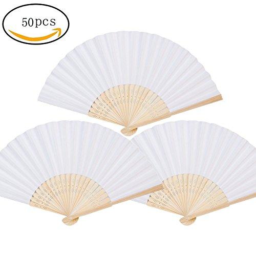 50er Weiß Bamboo Faltfächer Handventilatoren Papier Gefaltet Fan für Hochzeit und Heimtextilien