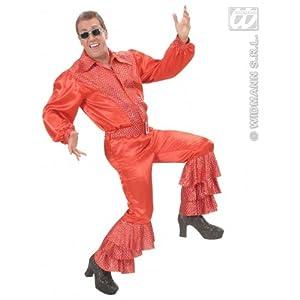 WIDMANN Pantalón de raso de lentejuelas holográficas rojo Carnaval