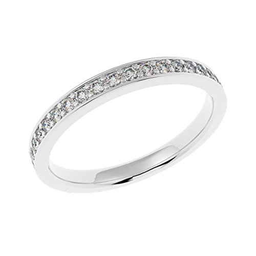 2,5 mm, qualità premium, con 1/4 di carato, con fedina a binario e diamanti, oro bianco, 10, cod. hdr0326.4
