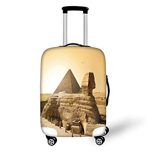 Travel Luggage Cover Suitcase Protector,Ancient Decor,Egyptian Pyramids Famous Great Landmark Wonders of The World Heritage View,Sand Brown,for Travel XL - Wonder Wash Mini