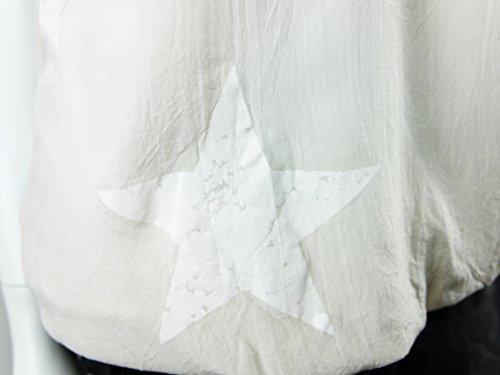 Stylisches modernes Top Shirt ärmellos mit Stern Print - Einheitsgröße - M L 38 40 42 (8215) Creme