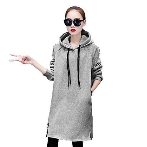 FEITONG cappotto donna pullover sciolti t shirt manica lunga (M, Grigio)