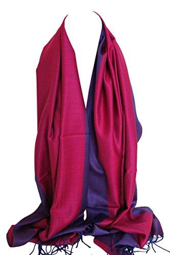 Bullahshah Zweiseitig Reversible Plain Pashmina Gefühl Verpackungs-Schal-Schal-Stola Kopftücher (heiß Rosa & blau)