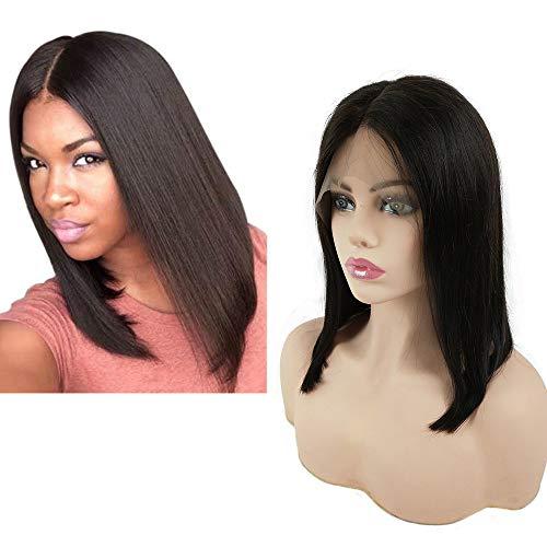 Mila 12inch/30cm Perruque Femme Cheveux Naturels Courte Brésilienne Vierge 100% Human Hair Lace Front Wig Bob For Black Women Milieu Raie Couleur Naturel Noir 1B