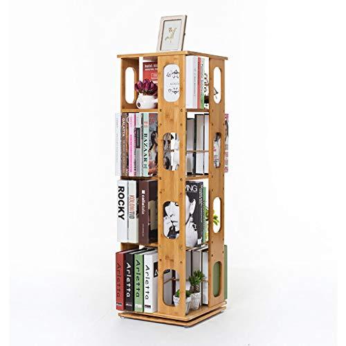 360-Grad-drehende Bücherregal Storage Bücherregal, 4-Tier-Holz Display Regale, CD DVD Buch Halter Einheit Rack Bücherregal Storage Organizer für Wohnzimmer Studie Schlafzimmer - 4-tier-rack-einheiten