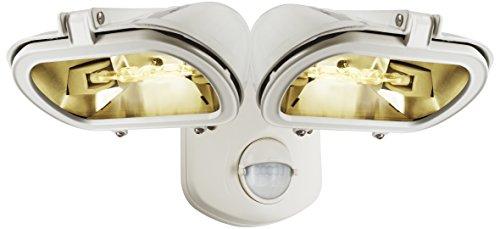Smartwares ES128W/2, doppel Halogenstrahler 2x120W Weiss mit Bewegungsmelder Metall, White, 13.8 x 31.6 x 23.3 cm