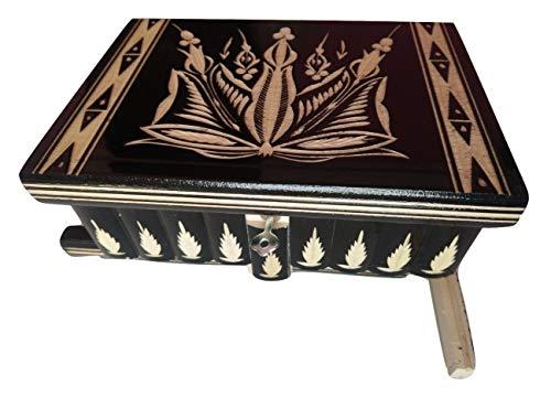 Neu groß Holz Puzzle Kasten geheimen Rätsel Zauber Schatz Magie Box, Schmuckschatulle handgeschnitzten Holz Aufbewahrungs Kasten Holz Spielzeug für Kinder (Schwarz) - Holz-puzzle Kreis