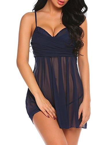 ADOME Sexy Babydoll Negligee Nachtwäsche Nachthemd Nachtkleid Sleepwear Faltenkleid Lingerie Dessous Set mit Wickeloptik für Damen mit string Marineblau