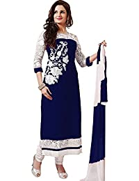 Shree Ashapura Creation Women`s Georgette Embroidered Semi-stitched Salwar Suit Dupatta Material(Blue)