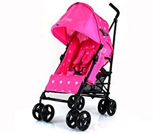 NEW ZETA VOOOM RASPBERRY (DOTS) BUGGY STROLLER PUSHCHAIR WITH LARGE SUN CANOPY HOOD with Rain Cover