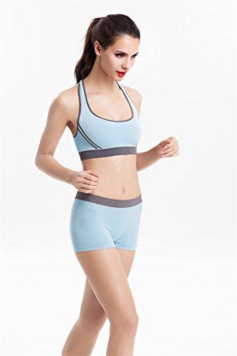 YeeHoo Femme Yoga Fitness Seamless Bra et Short Pants Leggings Set Gym Workout Sports Wear Bleu foncé
