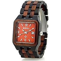 Niceshop quadratisch Holz Armbanduhren verstellbar schwarz rot Uhren mit Datum Kalender Funktion für Herren
