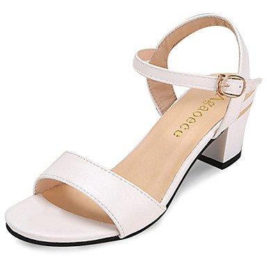 zhENfu Women's Sandals Spring Summer Comfort PU Casual Walking Buckle Black White White