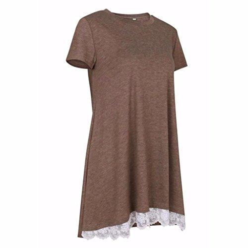 Manadlian T-Shirt,Femmes Dentelle Manches Courtes Chemise Pull Tops Blouse Casual Café