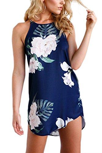 YOINS Damen Lange Schulterkleid Blumenmuster Kurzes Sommerkleider Strandkleid Langes Abendkleid Casual KurzesCocktailkleid 02 EU40-42