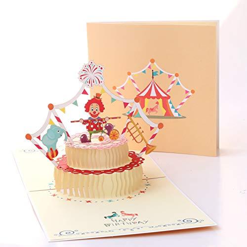 Birthday Cake Pop Up Grußkarte - 2 Schichten Cake Pop Up Geburtstagskarte mit Umschlag - Lasergeschnittene 3D-Karte Geburtstag Karte Jahrestag Hochzeit Graduation Baby ()