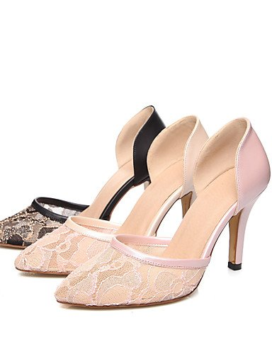 WSS 2016 Chaussures Femme-Bureau & Travail / Décontracté-Noir / Rose / Amande-Talon Aiguille-Talons / Bout Pointu-Chaussures à Talons-Tulle / black-us6 / eu36 / uk4 / cn36