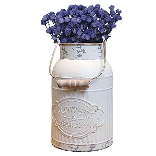 SHINGONE Weiß Vase Vintage Shabby Chic Vase Deko für Garten, Runde Blumenvase Vintage Vase für Hochzeit, Französischer Landhausstil Vase Eimer - L