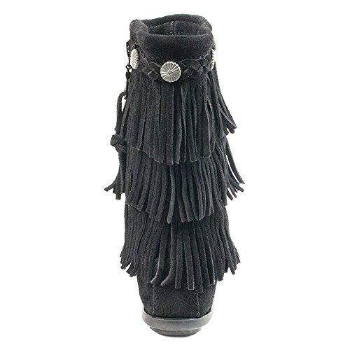 Minnetonka 3 Layer Fringe Black Black