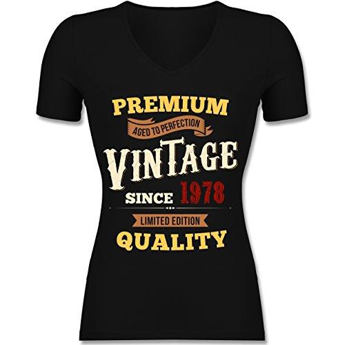 Shirtracer Geburtstag - 40. Geburtstag Vintage 1978 - Tailliertes T-Shirt mit V-Ausschnitt für Frauen Schwarz