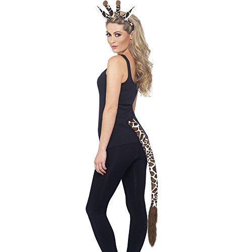 Giraffen Und Ohren Set Schwanz (Smiffys, Unisex Giraffen Sofort Kit, Haarreif mit Ohren und Schwanz, One Size, Braun gemustert,)