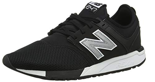 New Balance Herren 247v1 Sneaker, Schwarz (Black/Silver Red Rococo), 43 EU Schwarze Mesh-sneaker