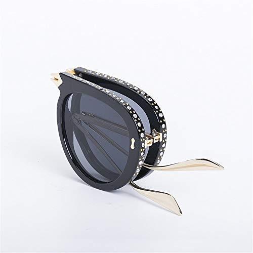 FANGLING-SUNGLASSES Gezeiten Sonnenbrillen Europäische und amerikanische Damenmode Sonnenbrillen Faltbare Sonnenbrillen UV-Schutz 2019 New Frame Diamond (Color : Black)