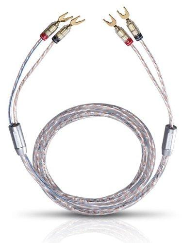 Oehlbach Twin Mix One 400 | Lautsprecherkabel-Set versilbert 2 x 3,0 mm², mit Kabelschuh-Verbinder | Made in Germany | 2 x 4 m - glasklar