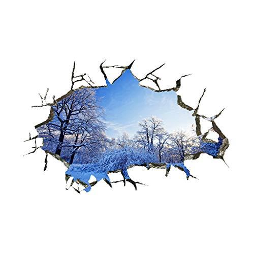 Keoly adesivi murali serie muro rotto 3d, adesivi murali natura, neve nella foresta, adesivi decorazione camera da letto soggiorno soffitto, adesivi murali casa (multicolor)