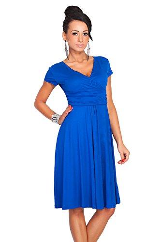 Futuro Fashion Femmes Elegant à manches courtes col V Genou Longueur Robe Viscose Avec Coton 8416 - Synthétique, Bleu roi, 20% coton 80% viscose, Femme, 40 (L)