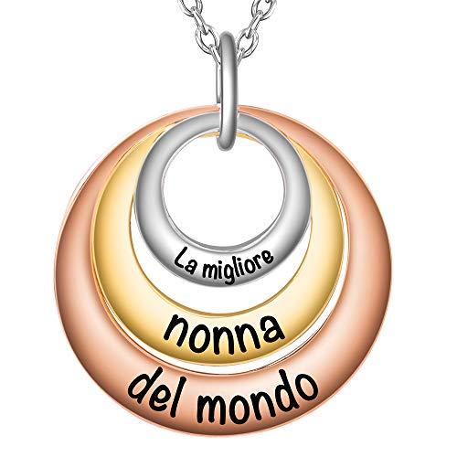 f237316340 SIMPORDS Collana Donna Incisa con Combinazione di Metalli Placcati Ciondolo  3 Cerchi Regalo per Nonna