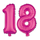 Ballon Zahl 18. Geburtstag in Pink - Folienballon Zahlen Party Geschenk Dekoration Luftballon Rosa Happy Birthday