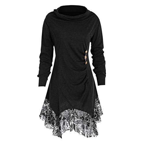 MRULIC Damen Lose Asymmetrisch Curved Rock Oberteile Bluse Rundhals Casual Loose Kleid(A1-Schwarz,L)