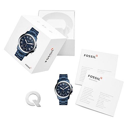 Fossil Herren Hybrid Smartwatch Q Grant - Edelstahl - Blau / Analoge Quarz Herrenuhr im klassischen & eleganten Stil mit Smartfunktionen / Für Android & iOS