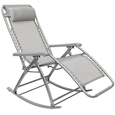AMANKA Schaukelliege 178x70cm | Schaukelstuhl in Grau | Klappbarer verstellbarer Relaxsessel Liege-Stuhl | Stahlrahmen | Belastbarkeit max. 120 KG