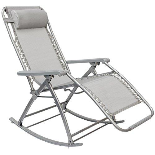 AMANKA Schaukelliege 178x70cm Schaukelstuhl in Grau Klappbarer Verstellbarer Relaxsessel Liege-Stuhl...