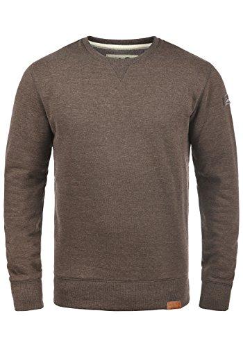 !Solid Trip O-Neck Herren Sweatshirt Pullover Pulli Mit Rundhalsausschnitt Und Fleece-Innenseite, Größe:S, Farbe:Coffee Bean Melange (8973)
