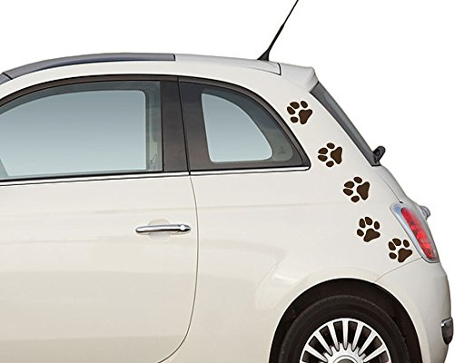 (S 8 Stück je ca. 6 cm) Hundepfoten - wasserfeste Autoaufkleber / Fensterbild / Wandtattoo - schwarz - Aufkleber Folien Sticker Pfötchen, Pfotenaufkleber fürs Auto oder Wandsticker, PKW, Wohnmobil, Decal Flower Autotattoos Hund