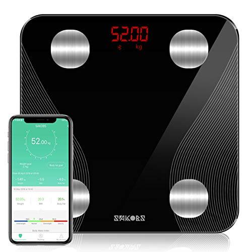 SAKOBS Personenwaage Digitale Körperfettwaage Waage mit Körperfett Fitness-Monitor Bluetooth Smarte Körperwaage mit App für BMI Diät Muskelmasse Wasser Protein BMR usw, iOS & Android