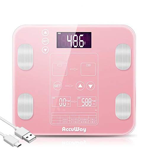 HiXB Körperfett Waage Digital Weight Personenwaage Hochpräzise Körperfettwaage BMI Muscle Mass Three Color,Pink,USBcharging
