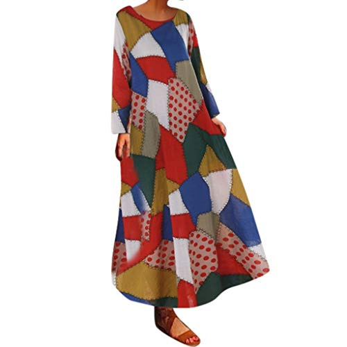 Damen Maxi-Kleid aus Baumwolle, lang, Kaftan, halbe Ärmel, Vintage, locker, locker, einfarbig, lang, S, Orange, 1 -