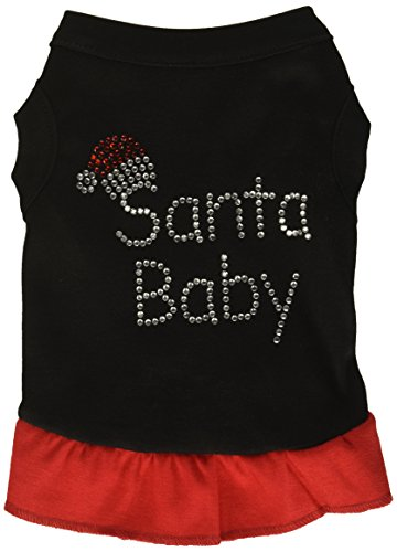 Mirage Pet Products Santa Baby Strass PET Kleid, klein, 25,4 cm, Schwarz/Rot