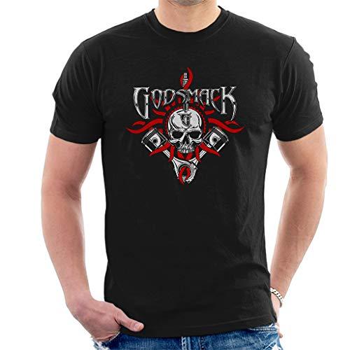 Godsmack Chrome Pistons Kurzarm Herren T-Shirt Schwarz Large