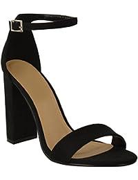 132c3cdc2f3e Fashion Thirsty Damen Blockabsatz Knöchelriemen Sexy Offene Zehen Sandalen  Schuh Größe Neu