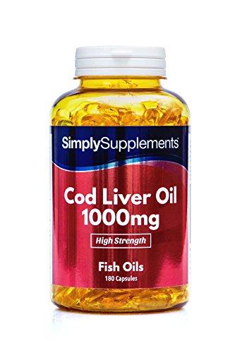Lebertran 1000mg - 180 Kapseln - Versorgung für bis zu 6 Monaten - Enthält Omega-3-Fettsäuren EPA und DHA - Simply Supplements