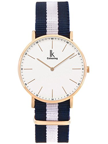 Alienwork Damen Herren Armbanduhr Quarz Rose-Gold mit NATO-Armband blau Ultra-flach Slim-Uhr Sportlich