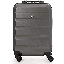 Aerolite ABS Bagage Cabine Bagage à Main Valise Rigide Légere à 4 roulettes, Approuvées pour Ryanair, Easyjet, Air France, Lufthansa, Jet2, Monarch et Plus, Graphite