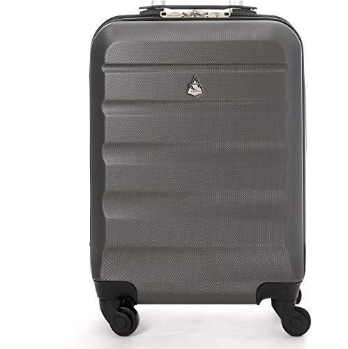 Aerolite Leichter ABS Hartschale 4 Rollen Handgepäck Trolley Koffer Bordgepäck Gepäck für Ryanair, easyJet, Lufthansa, und viele mehr, Graphit