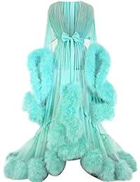 XWBO Damen Luxus Morgenmantel Bademantel Kimono mit Gürtel Feder Transparent Negligee Lingerie Bodenlang Nachtkleid Reizwäsche Nachtwäsche Dessous Babydoll Kleid