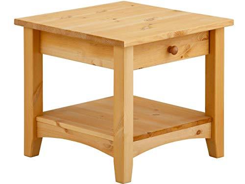 Chicago Beistelltisch (Loft24 Chicago Wohnzimmertisch mit Schublade Couchtisch Landhaus Beistelltisch Sofatisch Nachttisch Kiefer massiv Holz (gebeizt geölt, 50 x 50 x 45 cm))